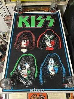 KISS BLACK LIGHT Poster FOUR FACES #834 Not AUCOIN MINT Vintage RARE