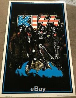 KISS Destroyer American Flag Blacklight Poster 1998 Near Mint Rare