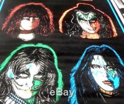 KISS Vintage BLACK LIGHT POSTER Four Faces #834 FUNKY ENT. NY Rolled