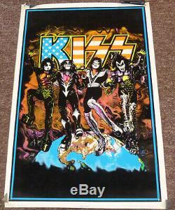 Kiss Destroyer American Flag Blacklight Poster 1998 Reunion Rare