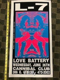 L7 Love Battery Cannibal Club Austin Tex Classic Early Frank Kozik Screen print