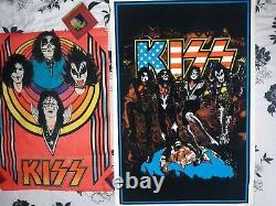 LOT OF 2 VINTAGE KISS BLACKLIGHT POSTERS 1976 AUCOIN + #895 Funky 1998 Velvet