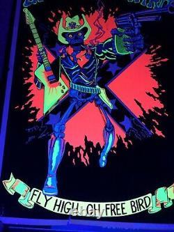 LYNYRD SKYNYRD 1980 Vintage Blacklight Felt Velvet Poster Fly High Oh Free Bird
