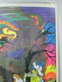 Lady And The Dragon Black Light Vintage Poster 1970's Cng384