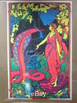 Large Vintage Black Light Poster 1971 Cobra Princess Inv#G975