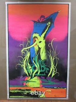 Large Vintage Black Light Poster 1971 Devil Woman Inv#G1373