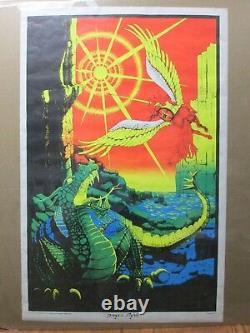 Large Vintage Black Light Poster 1971 Dragon Fighter Inv#G2733