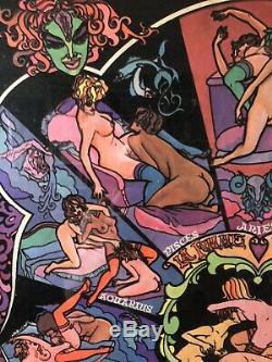 Les Dames Zodiac - Vintage Black Lite Lesbian Sex Positions Zodiac Poster