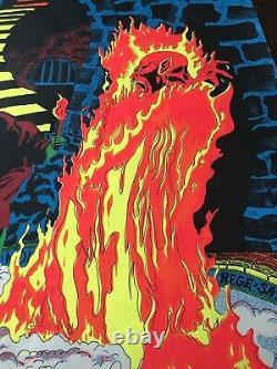 Lucifer Rege Rising SATANAS Satan Black Light Poster 1970 Pro Arts Large