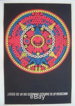 MEXICO 1968 OLYMPICS official poster BLACKLIGHT 25x37 Rare NM LINEN BACKED