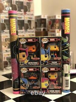 MINT Funko Pop! Marvel BLACK LIGHT 4 SET with Spider-Man & Doctor Strange Posters