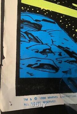 Marvel Vintage Black Light Silver Surfer Poster Glow Clean Velvet 1997 Funky