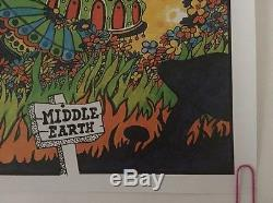 Middle Earth Vintage Blacklight Poster Dunham & Deatherage Psychedelic 1960's