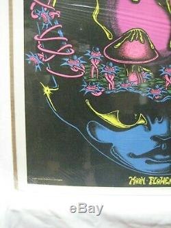 Moon Flower Magic Mushroom Black Light Psychedelic Vintage Poster 1971 Cng1085