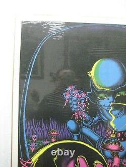 Moon Flower Magic Mushroom Black Light Psychedelic Vintage Poster 1971 Cng1086