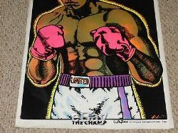 Muhammad Ali THE CHAMP Boxing Flocked Blacklight Poster 1975 Black Power Pride