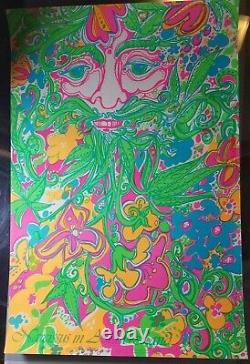 NARCISSUS IN ASTRAL LAND 1960's VINTAGE BLACKLIGHT NOS POSTER By Yellow Unicorn