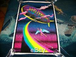 NEW Vintage 1970s LED ZEPPELIN STAIRWAY TO HEAVEN Velvet Felt Black Light Poster