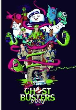 NYCC 2020 The Real Ghostbusters Blacklight Poster Screen Print Art 16x24 Mondo