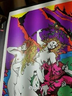 NYMPH'S REVENGE 1970's VINTAGE BLACKLIGHT NOS POSTER Jon Zarr Habar -NICE
