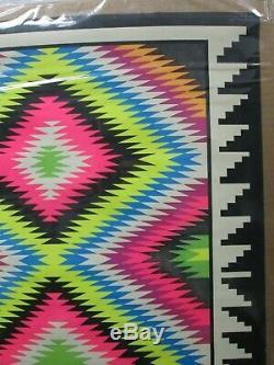 Navajo Op Mosaic Black Light Vintage Poster 1960's Psychedelic Cng695