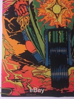 Night Rider Vintage Black Light Poster Motorcycle Third Eye Inc. Pin-up Bike 70s