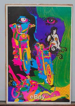 Nos Vintage 1968 Bo Moyer Dream Of Me Blacklight Poster Motorcycle Harley Nude