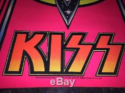ORIGINAL 1978 KISS AUCOIN FLOCKED BLACK LIGHT POSTER PRO ARTS M. S Stein