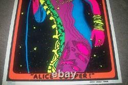 ORIGINAL VINTAGE 1973 ALICE COOPER FLOCKED BEAUTIFUL BLACKLIGHT POSTER 23x35'