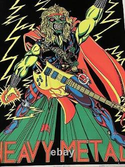Original 1980 Vintage Poster HEAVY METAL BLACKLIGHT velvet flocked Scorpio RARE