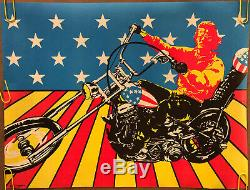 Original Blacklight Vintage Poster Easy Rider USA Psychedelic Peter Fonda 70s