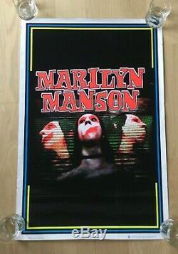 Original RARE Marilyn Manson 3 Faces BLACK LIGHT POSTER 35x23 Vintage