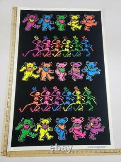 Original Vintage 1996 Grateful Dead GDM Dancing Bears Black Light Poster Funky