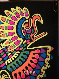Original Vintage Black Light Poster Azteca Psychedelic Abstract Rainbow Pin Up