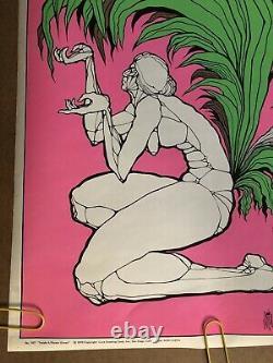 Original Vintage Black Light Poster Inside A Flower Grows Ron Costa Statue