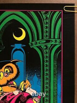 Original Vintage Black Light Poster Wise Owl Psychedelic Pin Up Trippy Hippy 70s