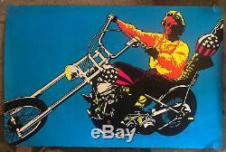 Original Vintage Black light Poster Easy Rider Peter Fonda Psychedelic Xlarge