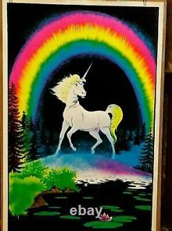 Original Vintage Black light Poster. Unicorn 1980
