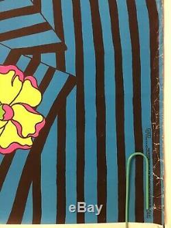 Original Vintage Blacklight Poster 1970 Chereskin Dear Love Corp Gangster Pin-up
