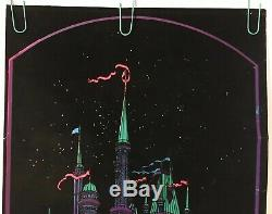 Original Vintage Blacklight Poster 1970s Moon Castle Flocked Velvet Retro Pin-up