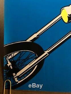 Original Vintage Blacklight Poster Easy Rider Peter Fonda 1970 Psychedelic Movie
