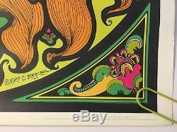 Original Vintage Blacklight Poster Flower Love 1967 C. Keelan 70s Headshop Pinup