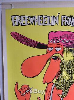 Original Vintage Blacklight Poster Freewheelin Franklin 1970s Pin-up Shelton