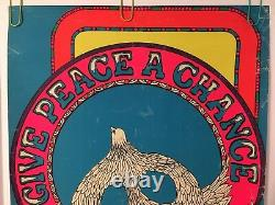 Original Vintage Blacklight Poster Give Peace A Chance 1970 Retro Pin-up 70s Art