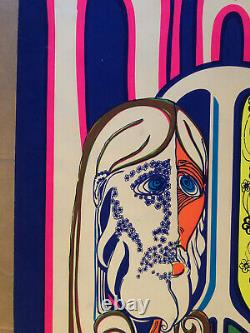Original Vintage Blacklight Poster Peace Hippy 1969 Hippie Psychedelic 1960s