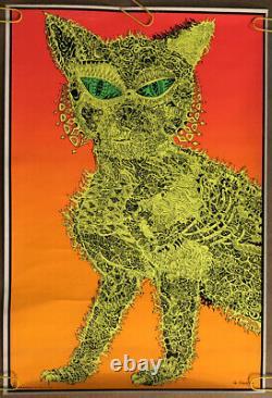 Original Vintage Blacklight Poster Psychedelic Cat Joe Roberts Jr. 1960s Pinup