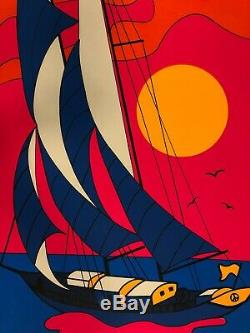 Original Vintage Blacklight Poster Psychedelic Sailboat 1970s Boat Ship Sailing