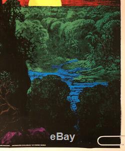 Original Vintage Blacklight Poster Satan Over Paradise Psychedelic Garden Eden