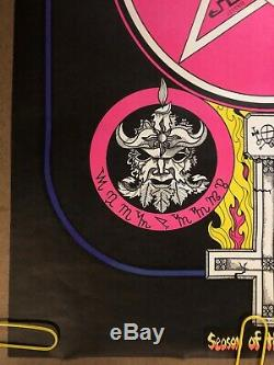 Original Vintage Blacklight Poster Season of the Witch Poster Occult Psychedelic