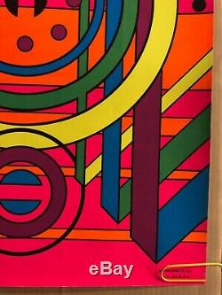 Original Vintage Blacklight Poster Three Thirty Three Abstract Psychedelic 1969